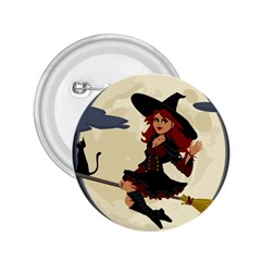 Witch Witchcraft Broomstick Broom 2 25  Buttons