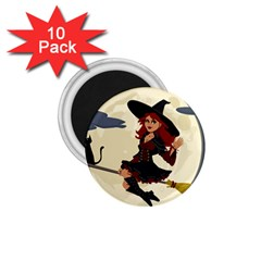 Witch Witchcraft Broomstick Broom 1 75  Magnets (10 Pack)