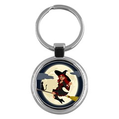 Witch Witchcraft Broomstick Broom Key Chains (round)