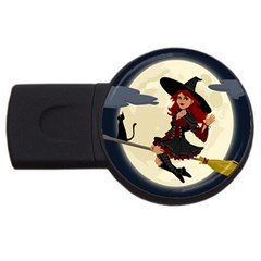 Witch Witchcraft Broomstick Broom Usb Flash Drive Round (4 Gb)