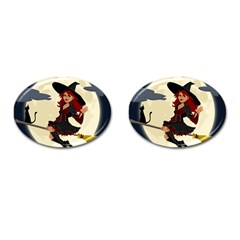 Witch Witchcraft Broomstick Broom Cufflinks (oval)