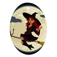 Witch Witchcraft Broomstick Broom Oval Ornament (two Sides)