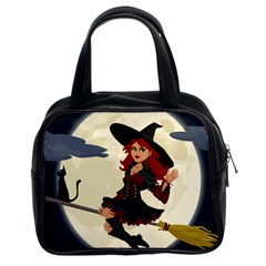 Witch Witchcraft Broomstick Broom Classic Handbags (2 Sides)