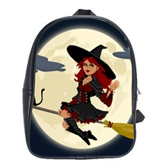 Witch Witchcraft Broomstick Broom School Bag (large)