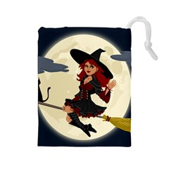 Witch Witchcraft Broomstick Broom Drawstring Pouches (large)