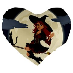 Witch Witchcraft Broomstick Broom Large 19  Premium Flano Heart Shape Cushions