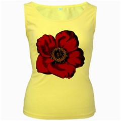 Floral Flower Petal Plant Women s Yellow Tank Top