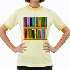Shelf Books Library Reading Women s Fitted Ringer T Shirts
