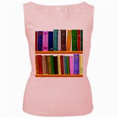Shelf Books Library Reading Women s Pink Tank Top