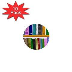 Shelf Books Library Reading 1  Mini Buttons (10 Pack)