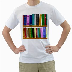 Shelf Books Library Reading Men s T Shirt (white) (two Sided)