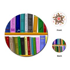 Shelf Books Library Reading Playing Cards (round)