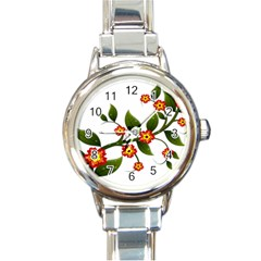 Flower Branch Nature Leaves Plant Round Italian Charm Watch