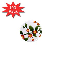 Flower Branch Nature Leaves Plant 1  Mini Magnets (100 Pack)