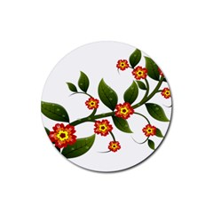 Flower Branch Nature Leaves Plant Rubber Coaster (round)
