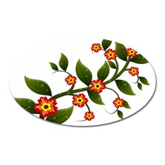 Flower Branch Nature Leaves Plant Oval Magnet