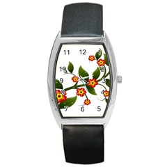 Flower Branch Nature Leaves Plant Barrel Style Metal Watch