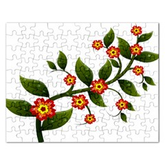 Flower Branch Nature Leaves Plant Rectangular Jigsaw Puzzl