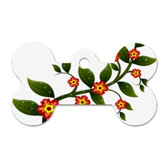 Flower Branch Nature Leaves Plant Dog Tag Bone (two Sides)