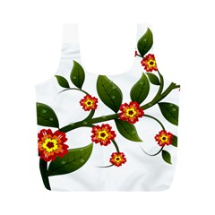 Flower Branch Nature Leaves Plant Full Print Recycle Bags (m)