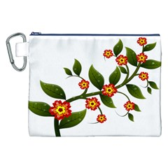 Flower Branch Nature Leaves Plant Canvas Cosmetic Bag (xxl)