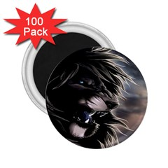 Angry Lion Digital Art Hd 2 25  Magnets (100 Pack)