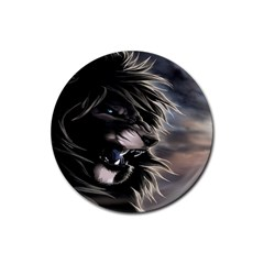 Angry Lion Digital Art Hd Rubber Round Coaster (4 Pack)