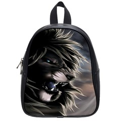 Angry Lion Digital Art Hd School Bag (small)