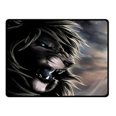 Angry Lion Digital Art Hd Double Sided Fleece Blanket (small)