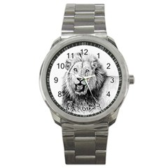 Lion Wildlife Art And Illustration Pencil Sport Metal Watch