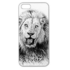 Lion Wildlife Art And Illustration Pencil Apple Seamless Iphone 5 Case (clear)