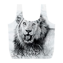 Lion Wildlife Art And Illustration Pencil Full Print Recycle Bags (l)