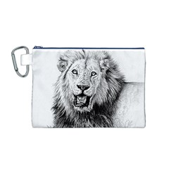 Lion Wildlife Art And Illustration Pencil Canvas Cosmetic Bag (m)