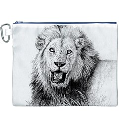 Lion Wildlife Art And Illustration Pencil Canvas Cosmetic Bag (xxxl)