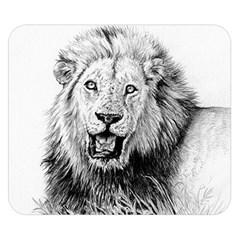 Lion Wildlife Art And Illustration Pencil Double Sided Flano Blanket (small)
