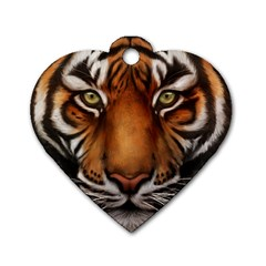 The Tiger Face Dog Tag Heart (two Sides)