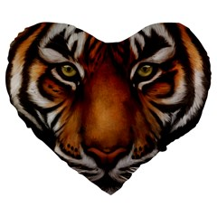 The Tiger Face Large 19  Premium Flano Heart Shape Cushions