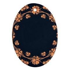 Floral Vintage Royal Frame Pattern Ornament (oval)