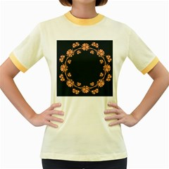 Floral Vintage Royal Frame Pattern Women s Fitted Ringer T Shirts