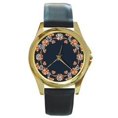Floral Vintage Royal Frame Pattern Round Gold Metal Watch