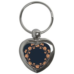 Floral Vintage Royal Frame Pattern Key Chains (heart)