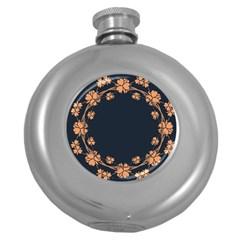 Floral Vintage Royal Frame Pattern Round Hip Flask (5 Oz)