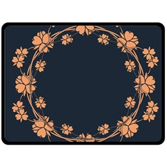 Floral Vintage Royal Frame Pattern Double Sided Fleece Blanket (large)