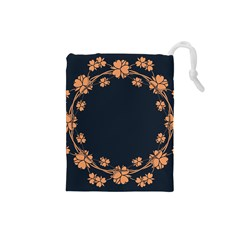 Floral Vintage Royal Frame Pattern Drawstring Pouches (small)