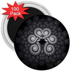 Fractal Filigree Lace Vintage 3  Magnets (100 Pack)