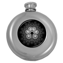 Fractal Filigree Lace Vintage Round Hip Flask (5 Oz)