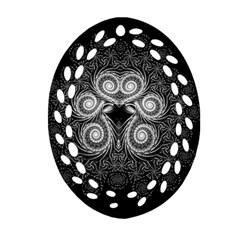 Fractal Filigree Lace Vintage Oval Filigree Ornament (two Sides)