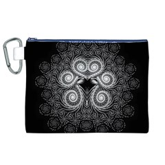 Fractal Filigree Lace Vintage Canvas Cosmetic Bag (xl)