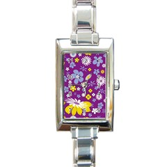 Floral Flowers Rectangle Italian Charm Watch