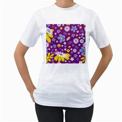 Floral Flowers Women s T Shirt (white) (two Sided)